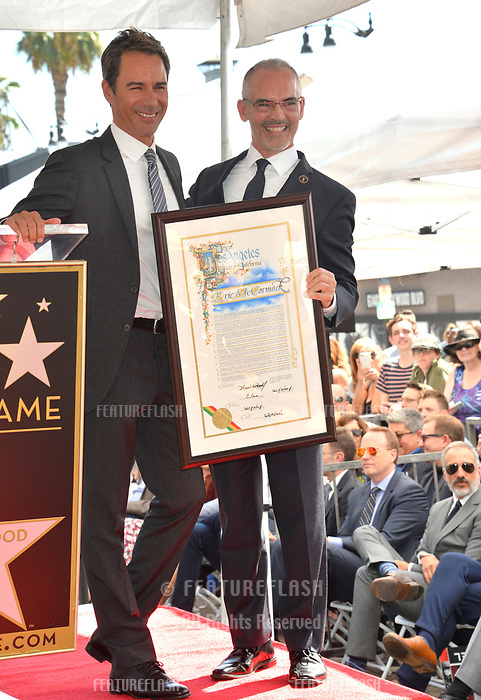 "LOS ANGELES, CA. September 13, 2018: Eric McCormack & Mitch O'Farrell at the Hollywood Walk of Fame Star Ceremony honoring ""Will & Grace"" star Eric McCormack."
