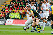9th September 2017, Franklins Gardens, Northampton, England; Aviva Premiership Rugby, Northampton Saints versus Leicester Tigers; Debutant Rob Horne of Northampton Saints is tackled by Tom Youngs of Leicester Tigers