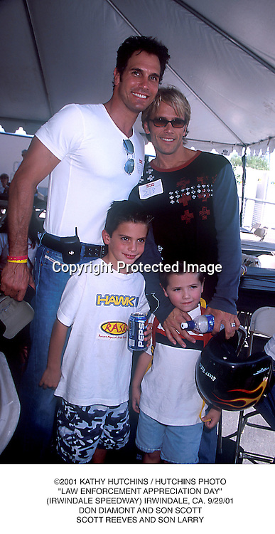 "©2001 KATHY HUTCHINS / HUTCHINS PHOTO.""LAW ENFORCEMENT APPRECIATION DAY"".(IRWINDALE SPEEDWAY) IRWINDALE, CA. 9/29/01.DON DIAMONT AND SON SCOTT.SCOTT REEVES AND SON LARRY"