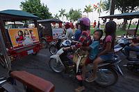 Phnom Penh, Cambodia. Evening rush hour seen from aboard a Tuk Tuk.
