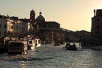Early morning light,Bridge Punte te degli scalzi, close to the railway station, Ferroviaria, Venice, Italy.