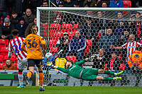 7th March 2020; Bet365 Stadium, Stoke, Staffordshire, England; English Championship Football, Stoke City versus Hull City; Tyrese Campbell of Stoke City scores a penalty past Hull keeper Long to put Stoke ahead 2-0