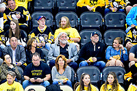 "May 31, 2017: Captain ""Wild"" Bill Wichrowski (center) from the television series Deadliest Catch watches the action on the ice at game two of the National Hockey League Stanley Cup Finals between the Nashville Predators  and the Pittsburgh Penguins, held at PPG Paints Arena, in Pittsburgh, PA. The Penguins defeat the Predators 4-1 and lead the series 2-0. Eric Canha/CSM"