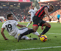 Bournemouth's Jordon Ibe (right)  is tackled by Wolverhampton Wanderers' Jonny Otta (left) <br /> <br /> Photographer David Horton/CameraSport<br /> <br /> The Premier League - Bournemouth v Wolverhampton Wanderers - Saturday 23 February 2019 - Vitality Stadium - Bournemouth<br /> <br /> World Copyright © 2019 CameraSport. All rights reserved. 43 Linden Ave. Countesthorpe. Leicester. England. LE8 5PG - Tel: +44 (0) 116 277 4147 - admin@camerasport.com - www.camerasport.com
