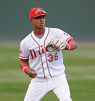 Infielder Jose Garcia (36) of the Greenville Drive, Class A affiliate of the Boston Red Sox, in a game against the Augusta GreenJackets on April 7, 2011, at Fluor Field at the West End in Greenville, S.C. Photo by Tom Priddy / Four Seam Images