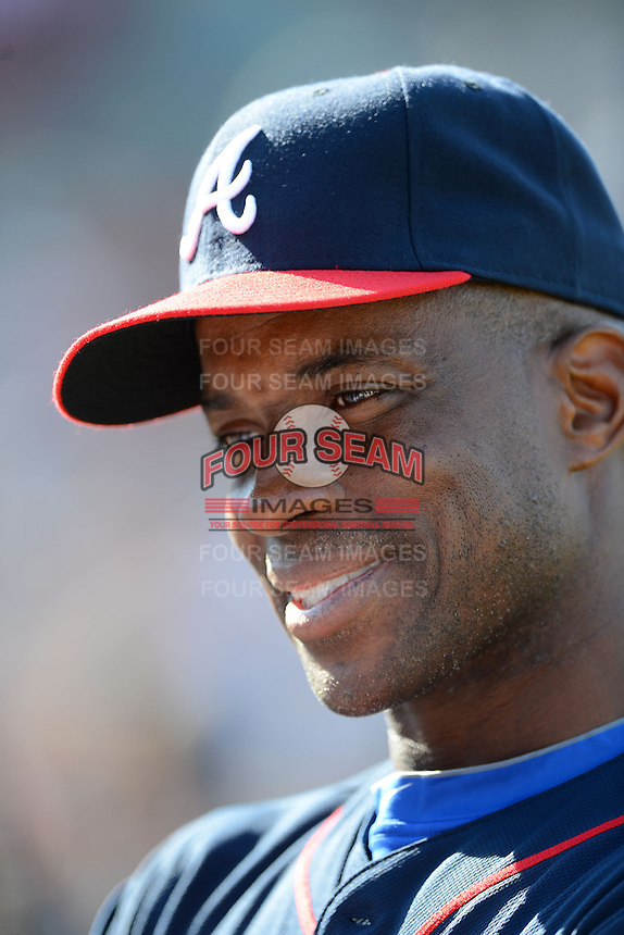 Former Atlanta Braves first baseman Fred McGriff #27 answers questions for the media before the MLB Pepsi Max Field of Dreams game on May 18, 2013 at Frontier Field in Rochester, New York.  (Mike Janes/Four Seam Images)