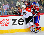 18 December 2008: Montreal Canadiens' defenseman Mike Komisarek has a run-in with Philadelphia Flyers' right wing forward Mike Knuble during the third period at the Bell Centre in Montreal, Quebec, Canada. The Canadiens, trying to avoid a four-game slide, defeated the Flyers 5-2, thus ending Philadelphia's 5-game winning streak. ***** Editorial Sales Only ***** Mandatory Photo Credit: Ed Wolfstein Photo