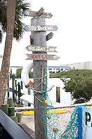 Sign post located on the Clearwater Harbor of the Gulf Intercoastal Waterway.  Indian Rocks Beach Tampa Bay Area Florida USA