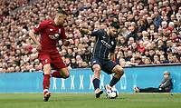 Manchester City's Sergio Aguero looks to turn Liverpool's Dejan Lovren<br /> <br /> Photographer Rich Linley/CameraSport<br /> <br /> The Premier League - Liverpool v Manchester City - Sunday 7th October 2018 - Anfield - Liverpool<br /> <br /> World Copyright &copy; 2018 CameraSport. All rights reserved. 43 Linden Ave. Countesthorpe. Leicester. England. LE8 5PG - Tel: +44 (0) 116 277 4147 - admin@camerasport.com - www.camerasport.com