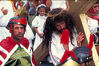 Jesus with cross at Easter procession in Costa Rica. Santa Barbara, Costa Rica.