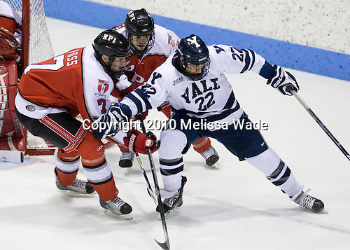 Jeff Foss (RPI - 7), Alex Angers-Goulet (RPI - 18), Brendan Mason (Yale - 22) - The Rensselaer Polytechnic Institute (RPI) Engineers defeated the Yale University Bulldogs 4-0 on Saturday, January 30, 2010, at Ingalls Rink in New Haven, Connecticut.