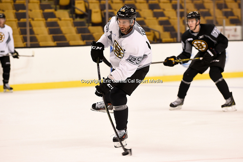 September 18, 2015 - Boston, Massachusetts, U.S. - Boston Bruins center Max Talbot (25) takes a shot during the Boston Bruins training camp held at TD Garden in Boston Massachusetts. Eric Canha/CSM