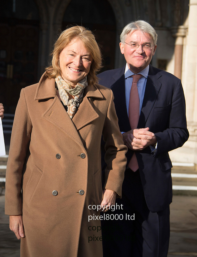 Pic shows: Andrew Mitchell and his wife Dr Sharon Bennett leave the High Court in London today  18.11.14<br /> <br /> Police spun a &quot;web of lies&quot; that led to a &quot;vitriolic&quot; campaign against ex-chief whip Andrew Mitchell and his family, the High Court has heard.<br /> <br /> Mr Mitchell resigned in 2012 in what became known as &quot;plebgate&quot;, after the Sun said he had called officers plebs.<br /> <br /> He is suing News Group Newspapers, with his lawyers arguing the police account of the incident was &quot;wholly false&quot;.<br /> <br /> The MP accepts that he swore when police refused to open a Downing Street gate for him to leave on his bicycle.<br /> <br /> Also at the High Court in London, Mr Mitchell is being sued by one of the officers on duty at the time for comments he made following the incident.<br /> <br /> <br /> <br /> <br /> <br /> Pic by Gavin Rodgers/Pixel 8000 Ltd