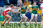 Louise Ní­ Mhuircheartaigh, Kerry in action against Aoibhinn McHugh, Tyrone during the Lidl Ladies National Football League Division 2 Round 4 match between Kerry and Tyrone at Fitzgerald Stadium on Sunday.