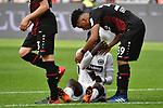 14.04.2018, BayArena, Leverkusen , GER, 1.FBL., Bayer 04 Leverkusen vs. Eintracht Frankfurt<br /> im Bild / picture shows: <br /> nach dem Spiel k&uuml;mmert sich Benjamin Henrichs (Leverkusen #39), und Danny da Costa (Frankfurt #24),   der ersch&ouml;pft am Boden liegt <br /> <br /> <br /> Foto &copy; nordphoto / Meuter