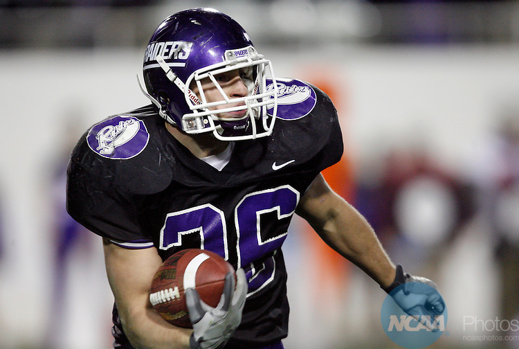 16 DEC 2006:  Nate Kmic (36) of Mount Union College rushed for a game high 116 yards against the University of Wisconsin-Whitewater during the Division III Men's Football Championship held at Salem Stadium in Salem, VA.  Mount Union defeated Wisconsin-Whitewater 35-16 to win the national title.  Jamie Schwaberow/NCAA Photos.