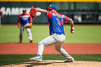Orlando Roman(43), pitcher inicial de los Caguas de Puerto Rico hace lanzamientos en la parta alta del primer inning, contra los Caribes de Anzoátegui de Venezuela, durante la Serie del Caribe en estadio Panamericano en Guadalajara, México, Miércoles 7 feb 2018.  (Foto: AP/Luis Gutierrez)