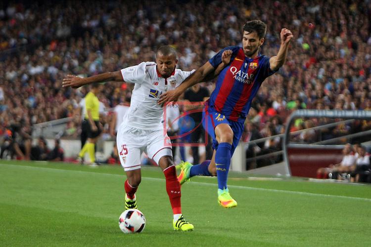 League Santander 2016/2017.<br /> Supercopa de Espa&ntilde;a - Vuelta.<br /> FC Barcelona vs Sevilla FC: 3-0.<br /> Ferreira vs Andre Gomes.