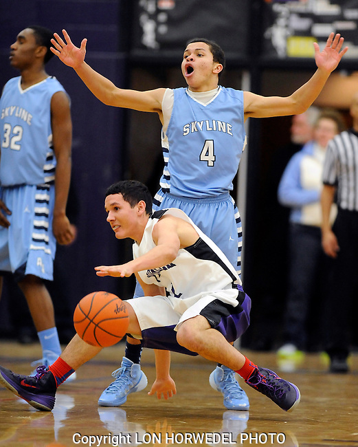 Skyline vs Pioneer varsity basketball at Pioneer High School, Friday, January 31, 2014.