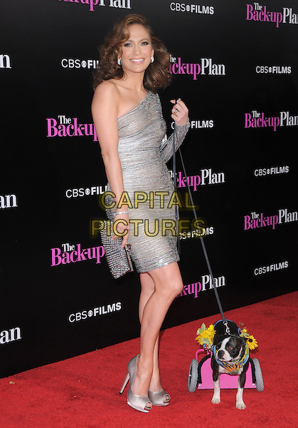 "JENNIFER LOPEZ.at the CBS Films' L.A. Premiere of ""The Back-Up Plan"" held at The Village Theatre in Westwood, California, USA, April 21st, 2010..arrivals full length one shoulder silver dress sleeve shiny shimmery clutch bag shoes smiling dog animal peep toe trolley flowers lead leash.CAP/RKE/DVS.©DVS/RockinExposures/Capital Pictures."