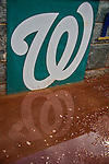 7 April 2016: A puddle of water is seen on the infield dirt during a rain delay of the Washington Nationals Home Opening Game at Nationals Park in Washington, DC. The visiting Miami Marlins defeated the Nationals 6-4 in their first meeting of the 2016 MLB season. Mandatory Credit: Ed Wolfstein Photo *** RAW (NEF) Image File Available ***