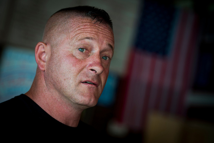 UNITED STATES - July 5: Richard Ojeda speaks with Roll Call inside Hot Cup, a local coffee shop in Logan, West Virginia Thursday July 5, 2018. Ojeda is a first-term lawmaker from southern West Virginia running to represent the state's 3rd Congressional District as a Democrat. Ojeda is best known as the Democrat who voted for President Trump and who was brutally beaten in an ambush the day before the primaries. (Photo By Sarah Silbiger/CQ Roll Call)