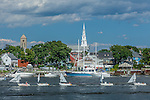 Children's sunfish sailing classes on the waterfront in Warren, RI, USA