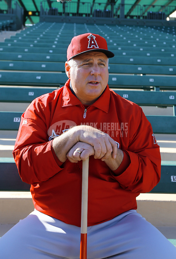 Feb. 12, 2013; Tempe, AZ, USA: Los Angeles Angels manager Mike Scioscia during spring training at Tempe Diablo Stadium. Mandatory Credit: Mark J. Rebilas-USA TODAY Sports