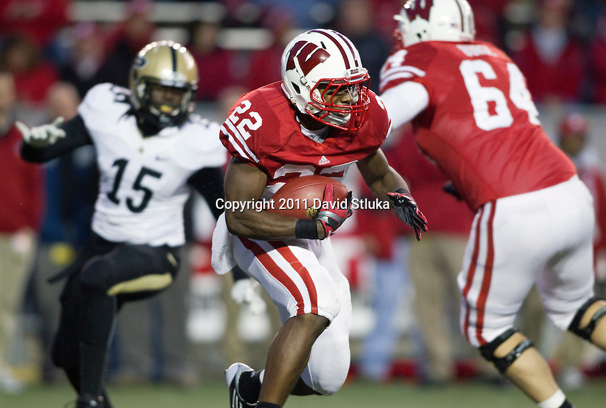 Wisconsin Badgers running back Jeff Lewis (22) carries the ball during an NCAA Big Ten Conference college football game against the Purdue Boilermakers on November 5, 2011 in Madison, Wisconsin. The Badgers won 62-17. (Photo by David Stluka)