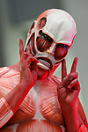 A cosplayer as character from Attack on Titan manga series, poses for cameras during the AnimeJapan 2017 at Tokyo Big Sight on March 25, 2017, Tokyo, Japan. AnimeJapan 2017 is a trade show promoting ''Everything Anime'' to local and foreign fans and businesses. The show is held over four-day days with March 23-24 reserved for business visitors and March 25-26 for the public. It is expected to attract some 120,000 visitors, including cosplayers. (Photo by Rodrigo Reyes Marin/AFLO)