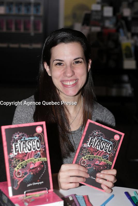 Julie Champagne<br /> <br />  at montreal book fair, November 2015,<br /> <br /> <br /> PHOTO : Pierre Roussel<br />  - Agence Quebec Presse