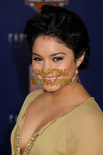 "Vanessa Hudgens.Premiere of ""Captain America: The First Avenger"" held at The El Capitan Theatre in Hollywood, California, USA..July 19th, 2011.headshot portrait yellow gold beige sheer short cropped hair smiling dangling earrings sequins sequined .CAP/ADM/BP.©Byron Purvis/AdMedia/Capital Pictures."