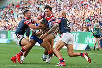 Solomone Kata on his way to scoring. Sydney Roosters v Vodafone Warriors, NRL Rugby League. Allianz Stadium, Sydney, Australia. 31st March 2018. Copyright Photo: David Neilson / www.photosport.nz