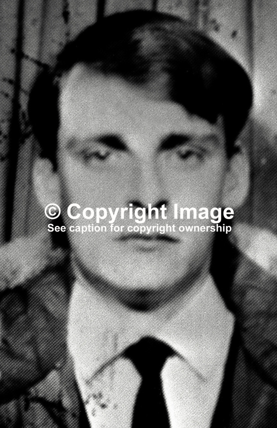 Michael McLarnon, 22 year, shot and fatally wounded by a British soldier as he stood in the doorway of his home at Etna Drive, Ardoyne, Belfast, N Ireland, on 28 October 1971. ..Copyright Image from Victor Patterson, 54 Dorchester Park, Belfast, UK, BT9 6RJ..Tel: +44 28 9066 1296.Mob: +44 7802 353836.Voicemail +44 20 8816 7153.Skype: victorpattersonbelfast.Email: victorpatterson@me.com.Email: victorpatterson@ireland.com (back-up)..IMPORTANT: If you wish to use this image or any other of my images please go to www.victorpatterson.com and click on the Terms & Conditions. Then contact me by email or phone with the reference number(s) of the image(s) concerned.