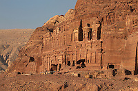 Royal tombs, including Palace tomb and Corinthian tomb, 1st century AD, Petra, Ma'an, Jordan. These tombs were carved by the Nabateans for their Kings in the face of Jabal al-Khubtha, the mountain overlooking Petra on the East. Petra was the capital and royal city of the Nabateans, Arabic desert nomads. Picture by Manuel Cohen