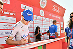 Gazprom Rusvelo at sign on before Stage 3 The Emirates Stage of the UAE Tour 2020 running 184km from Al Qudra Cycle Track to Jebel Hafeet, Dubai. 25th February 2020.<br /> Picture: LaPresse/Massimo Paolone   Cyclefile<br /> <br /> All photos usage must carry mandatory copyright credit (© Cyclefile   LaPresse/Massimo Paolone)