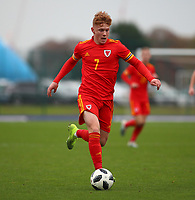 16th November 2019; Leckwith Stadium, Cardiff, Glamorgan, Wales; European Championship Under 19 2020 Qualifiers, Russia under 19s versus Wales under 19s; Sam Pearson of Wales Under 19 moves forward with the ball - Editorial Use
