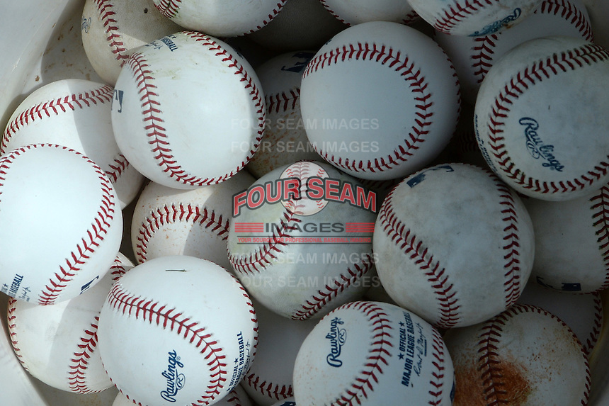 Pittsburgh Pirates Spring Training baseballs in a bucket before a game against the New York Yankees on March 5, 2015 at McKechnie Field in Bradenton, Florida.  New York defeated Pittsburgh 2-1.  (Mike Janes/Four Seam Images)