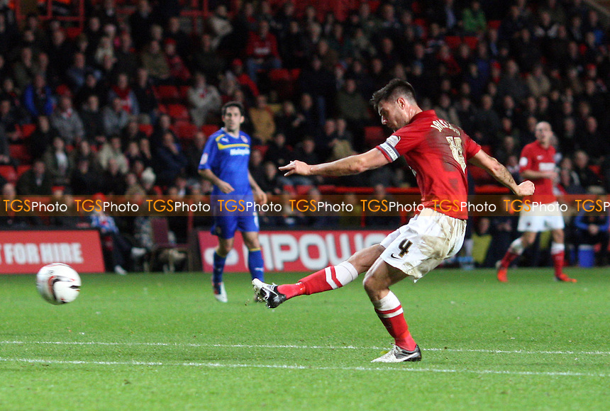 Johnnie Jackson scores the 1st goal for Charlton - Charlton Athletic vs Cardiff City, nPower Championship at the Valley, Charlton - 06/11/12 - MANDATORY CREDIT: Rob Newell/TGSPHOTO - Self billing applies where appropriate - 0845 094 6026 - contact@tgsphoto.co.uk - NO UNPAID USE.