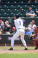 Adam Engel (7) of the Winston-Salem Dash at bat against the Salem Red Sox at BB&T Ballpark on May 31, 2015 in Winston-Salem, North Carolina.  The Red Sox defeated the Dash 6-5.  (Brian Westerholt/Four Seam Images)