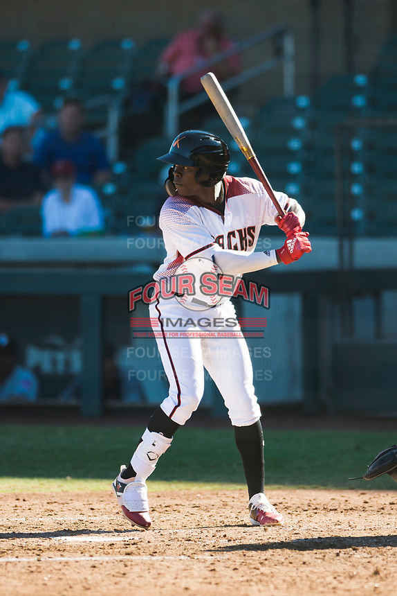 Salt River Rafters shortstop Jazz Chisholm (1), of the Arizona Diamondbacks organization, at bat during an Arizona Fall League game against the Glendale Desert Dogs at Salt River Fields at Talking Stick on October 31, 2018 in Scottsdale, Arizona. Glendale defeated Salt River 12-6 in extra innings. (Zachary Lucy/Four Seam Images)