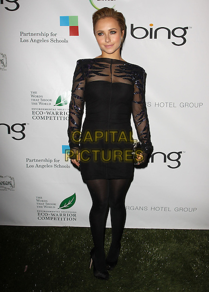 HAYDEN PANETTIERE.40th Annivesary of Earth Day held At The JW Marriott LA Live, Los Angeles, California, USA, 22nd April 2010..full length black hair up sheer mesh see through thru dress sequined sequin tights shoes clutch bag long sleeved sleeves .CAP/ADM/KB.©Kevan Brooks/AdMedia/Capital Pictures.