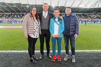 Lee Trundle with Academy youngster the Premier League game between Swansea City v Chelsea at the Liberty Stadium, Swansea, Wales, UK. Saturday 28 April 2018