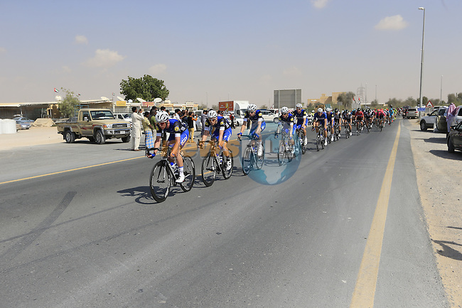 The peloton with Etixx-Quick Step driving the pace on the front pass through Al Marmoom during Stage 2, the Nakheel Stage, of the 2016 Dubai Tour starting at the Dubai International Marine Club and running 188km to Palm Jumeirah Atlantis, Dubai, United Arab Emirates. 4th February 2016.<br /> Picture: Eoin Clarke | Newsfile<br /> <br /> <br /> All photos usage must carry mandatory copyright credit (&copy; Newsfile | Eoin Clarke)