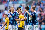 Stockholm 2014-07-07 Fotboll Allsvenskan Djurg&aring;rdens IF - IF Elfsborg :  <br /> Djurg&aring;rdens Erton Fejzullahu gratuleras av Djurg&aring;rdens Haris Radetinac , Djurg&aring;rdens Alexander Faltsetas och Djurg&aring;rdens Vytautas Andriuskevicius efter sitt 1-1 m&aring;l p&aring; straff<br /> (Foto: Kenta J&ouml;nsson) Nyckelord:  Djurg&aring;rden DIF Tele2 Arena Elfsborg IFE jubel gl&auml;dje lycka glad happy