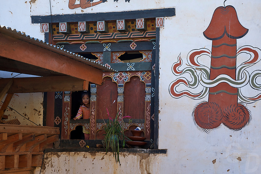 Phallus symbols painted on traditional houses in the Village of Sopsokha, Punakha District, Bhutan