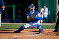Dunedin Blue Jays catcher Riley Adams (21) looks to tag Reynaldo Rivera (out of frame) during a Florida State League game against the Lakeland Flying Tigers on April 18, 2019 at Jack Russell Memorial Stadium in Clearwater, Florida.  Dunedin defeated Lakeland 6-2.  (Mike Janes/Four Seam Images)