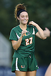 12 September 2013: Miami's Ally Andreini. The Duke University Blue Devils hosted the University of Miami Hurricanes at Koskinen Stadium in Durham, NC in a 2013 NCAA Division I Women's Soccer match. Duke won the game 3-0.