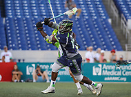 Annapolis, MD - July 7, 2018: Chesapeake Bayhawks Myles Jones (15) scores a goal during the game between New York Lizards and Chesapeake Bayhawks at Navy-Marine Corps Memorial Stadium in Annapolis, MD.   (Photo by Elliott Brown/Media Images International)