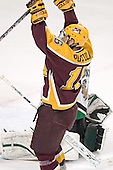 Ryan Potulny celebrates his first goal of the game - The University of Minnesota Golden Gophers defeated the University of North Dakota Fighting Sioux 4-3 on Saturday, December 10, 2005 completing a weekend sweep of the Fighting Sioux at the Ralph Engelstad Arena in Grand Forks, North Dakota.